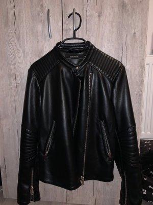 Zara Basic Leren jack zwart