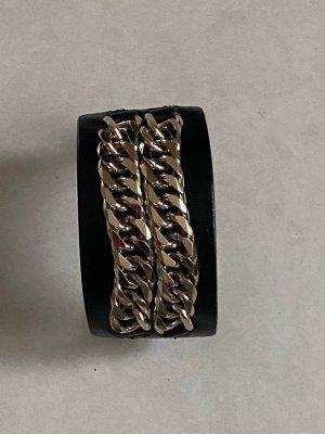 Givenchy Brazalete de cuero negro-color oro