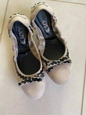 Tods Składane baleriny jasnobeżowy-czarny
