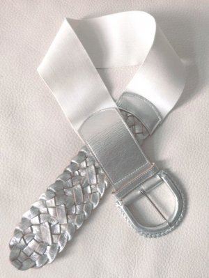 Leatherock Waist Belt white-silver-colored leather