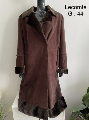 Lecomte Fake Fur Coat cognac-coloured