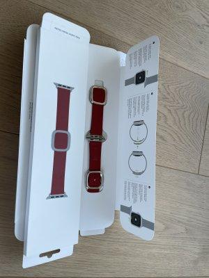 Apple Horloge met lederen riempje rood
