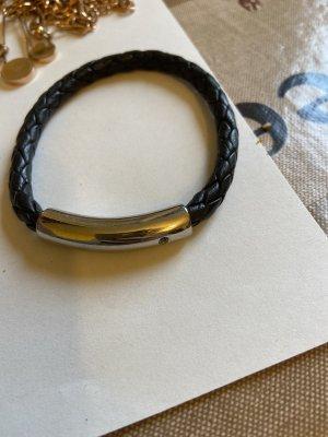 Lederen armband zilver-zwart