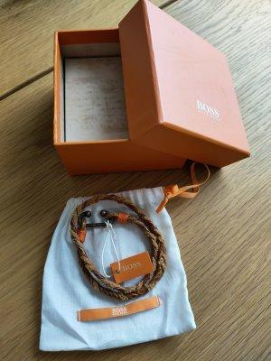 Boss Orange Brazalete de cuero marrón Cuero