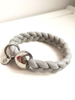 Leder Armband geflochten • qudo Codino • silber