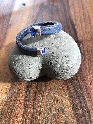 Leather Bracelet blue leather