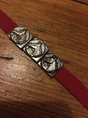 Lederen armband zilver-rood Leer