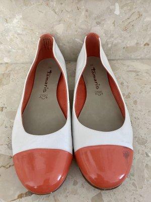 Tamaris Ballerina di pelle verniciata bianco-rosso chiaro