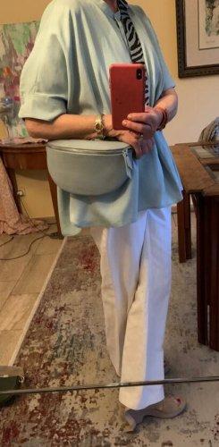 Leder Bauchtasche Umhängetasche hellblau mit 2 Riemen neu