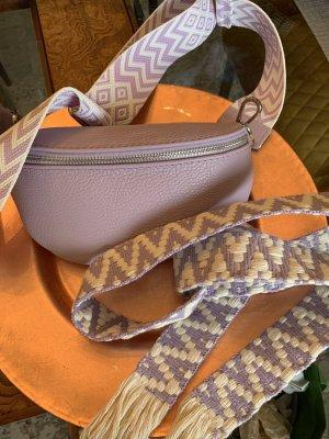 Börse in Pelle Banane violet-argenté cuir