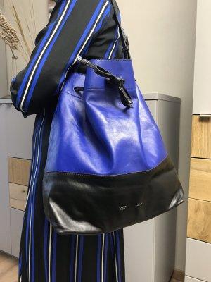 Leder Beutel Tasche Celine Paris Made in Italy blau/schwarz