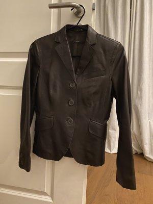 BOSS HUGO BOSS Leather Blazer dark brown