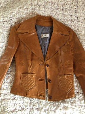 Leather Blazer cognac-coloured-brown