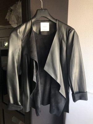 Mango Leather Blazer black