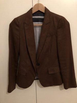 Zara Leren blazer cognac-zwart bruin