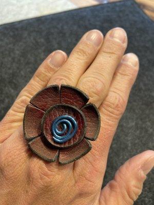 Leder-Blumen Ring