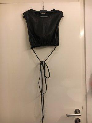 Zara Blouse en cuir noir