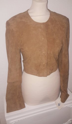 Ricano Leather Blouse brown-cognac-coloured leather