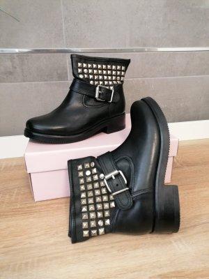 Leder Boots Stiefelette schwarz Nieten 37