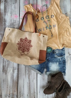 Leder Canvas Mandala Shopper