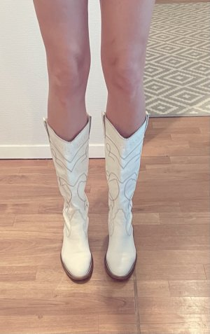 Boots western blanc