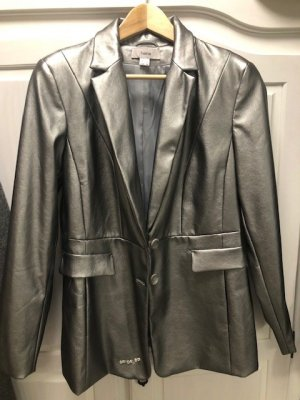 Heine Collection Leather Blazer silver-colored leather