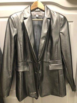 Heine Collection Blazer de cuero color plata Cuero