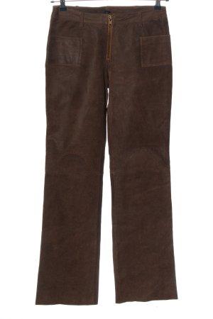 Leder Emotion Pantalon en cuir brun style décontracté