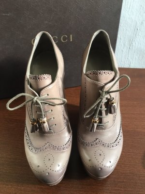 Gucci Oxfords beige-dusky pink leather
