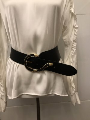 aus Italien Leather Belt black-gold-colored