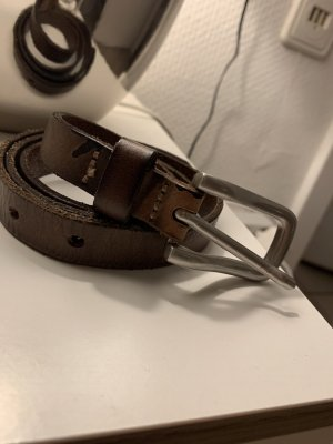Reptile's House Leather Belt brown-silver-colored leather