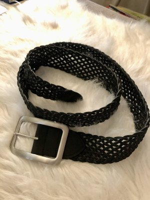 Braided Belt black-silver-colored