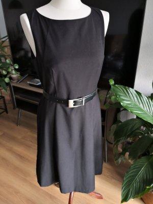 Leder-Gürtel mit silberner Schnalle – schwarz - 75