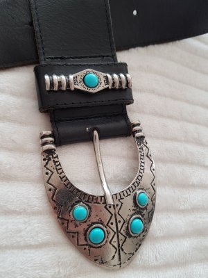 Made in Italy Leather Belt black-turquoise