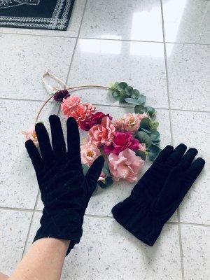 Leder Handschuhe Damen angenäht gefüttert gesteppt schwarz M 8