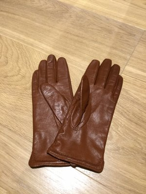 H&M Faux Leather Gloves cognac-coloured
