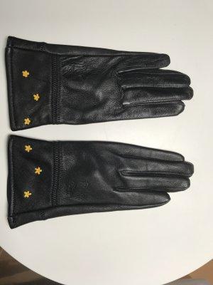 Leren handschoenen zwart-geel