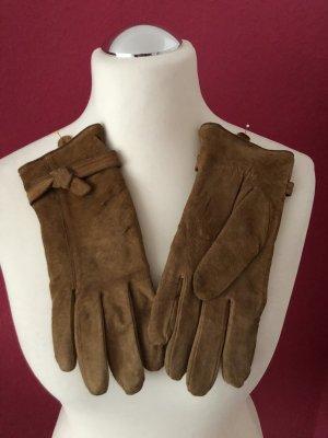 Rękawiczki skórzane piaskowy brąz-ochra Skóra