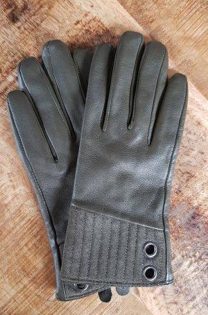 Leren handschoenen khaki Leer