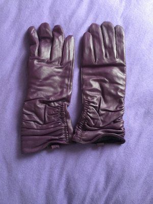 Rękawiczki skórzane ciemny fiolet Skóra