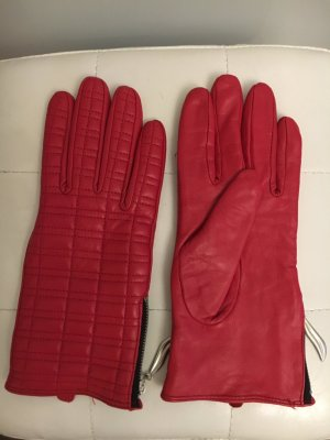 F&F Leather Gloves red-dark red