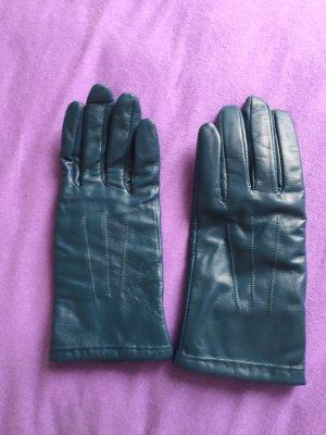 Rękawiczki skórzane morski-petrol Skóra