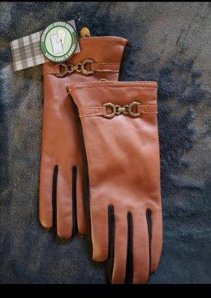 Leren handschoenen zwart-bruin