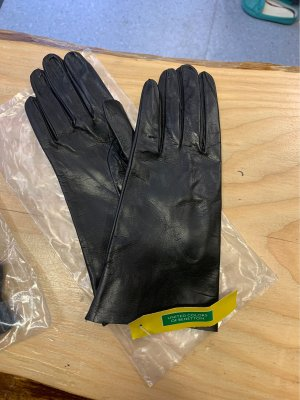 Benetton Leather Gloves black