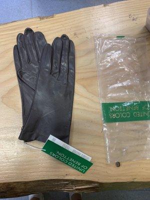 Benetton Leather Gloves black brown-dark brown