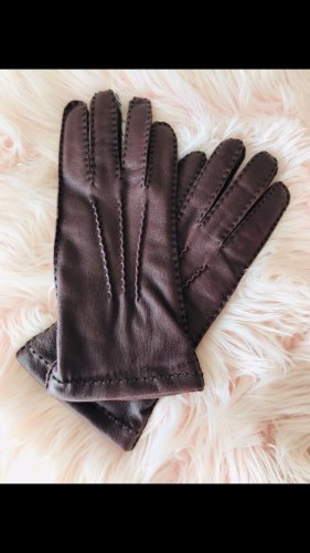 Leather Gloves brown red-bordeaux