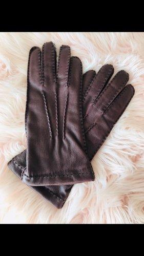 Leren handschoenen roodbruin-bordeaux