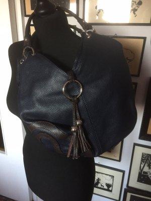 Leder Handtasche, Italien, blau/braun, neu