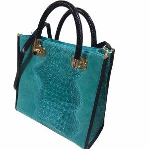 Leder Handtasche Made in Italy Türkis Blau 29x23cm Tasche Bag Damen