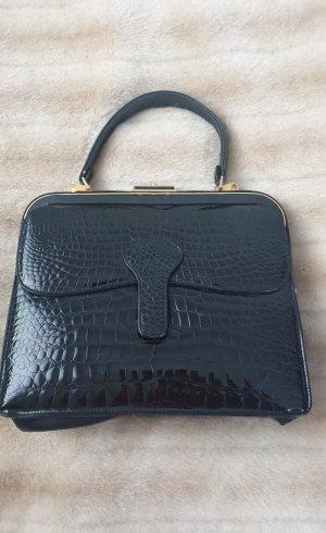 Leder Handtasche schwarz